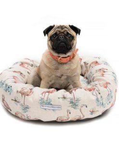Flamingo linen donut dog bed