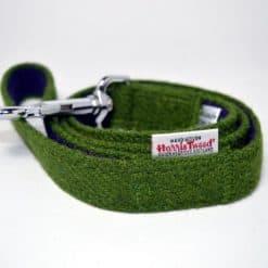 Green Harris tweed dog lead