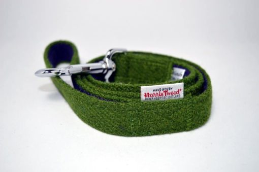 Green Harris tweed dog lead