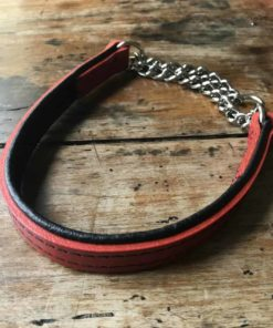 Red and black padded leather dog collar