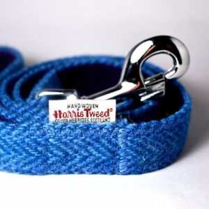 Dark blue Harris tweed dog lead