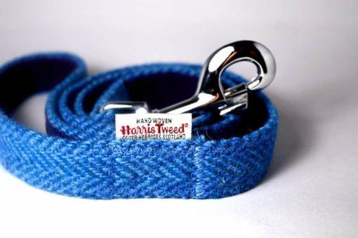 Dark blue Harris tweed dog lead
