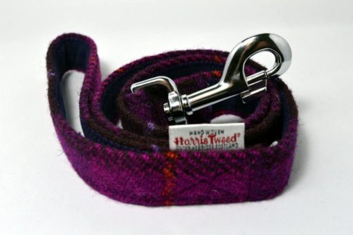 Berry check Harris tweed dog lead