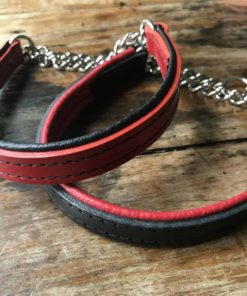 Black and red half chain padded leather dog collar