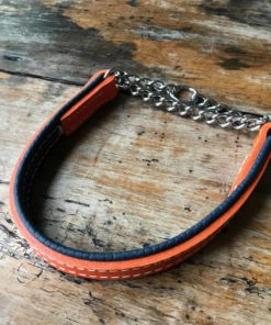 Orange and navy padded leather half check leather dog collar