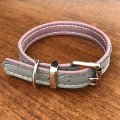 Grey and dusky pink soft padded dog collar
