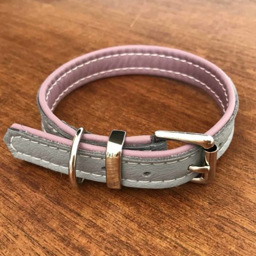 Grey and dusky pink soft padded dog collar