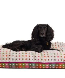 Grey with colourful spots pure new wool dog bed. Luxury Dog Beds UK