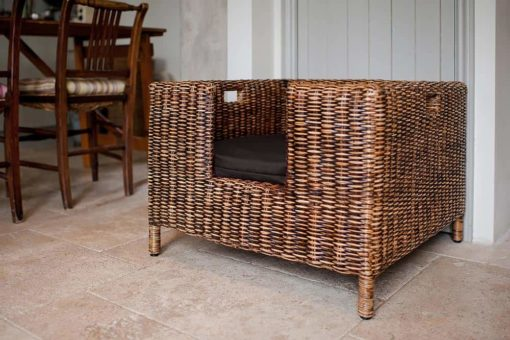 Rattan raised bed with Mole Brown Velvet cushion