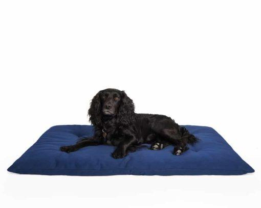 Dog travel bed roll, BLUE, organic