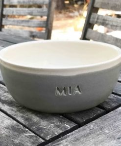 Grey and cream pottery bowls