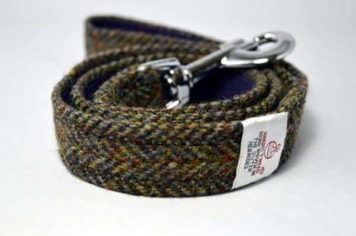 Brown herringbone Harris Tweed Dog collar and lead