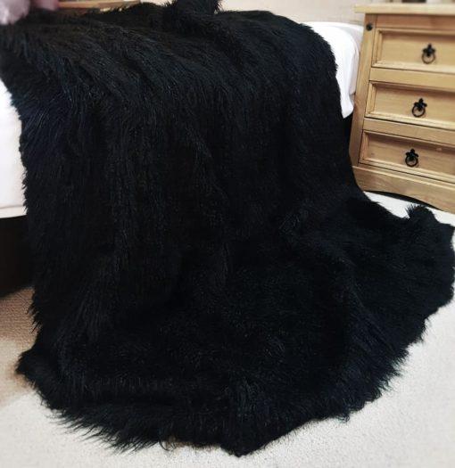 Black Mongolian Faux fur blanket for dogs