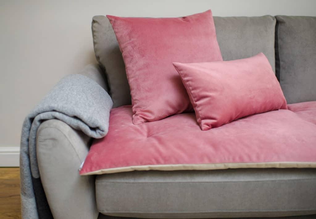 Pink Velvet Sofa Topper