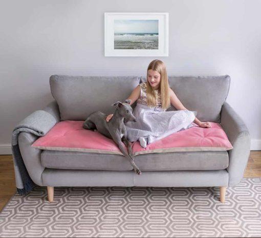 Pink Velvet Sofa Topper . Dog Sofa Protection
