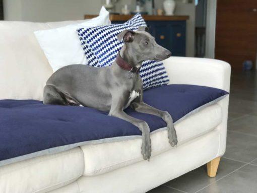Ink Blue Velvet Luxury Sofa Topper. .Dog Sofa Protection