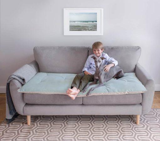 Sea Spray Blue Velvet Sofa Topper . Dog Sofa Protection
