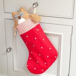 Cranberry Stars Cotton with Red Ticking Stripe Topper Christmas Stocking. Christmas gifts for dogs