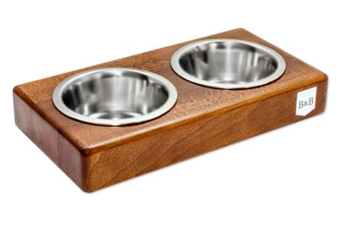Amber Double Wooden Dog Bowls