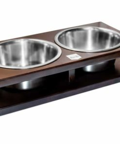 Chestnut Double Wooden Dog Bowls