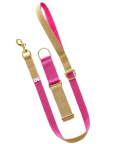 Beige and Cerise Pink Webbing Luxury Dog Collar and lead
