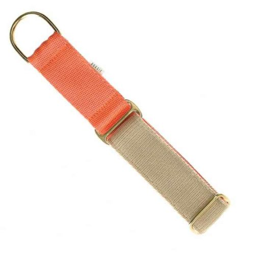 Beige and orange luxury webbing dog collar.