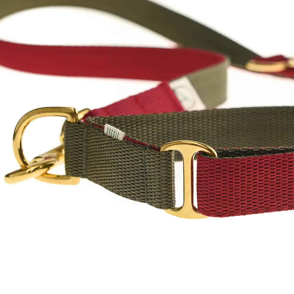 Burgundy and Olive luxury webbing dog collar.