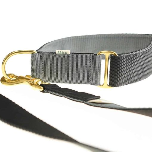 Black & Grey Webbing Luxury Dog Collar and lead