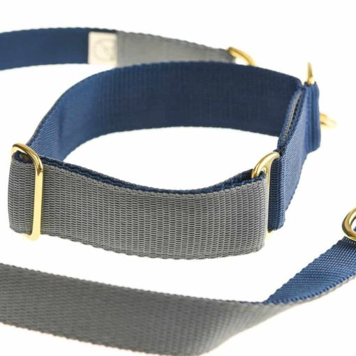 Grey and Navy Webbing Luxury Dog Collar and lead