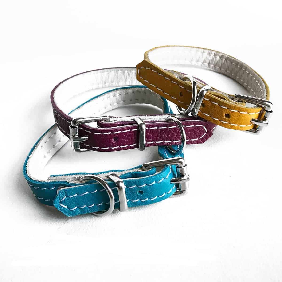 Soft Leather Puppy Collars Various Colours