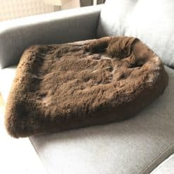Brown silky faux fur dog sleeping bag