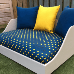 Luxury Wooden dog bed and cushions - Spotty