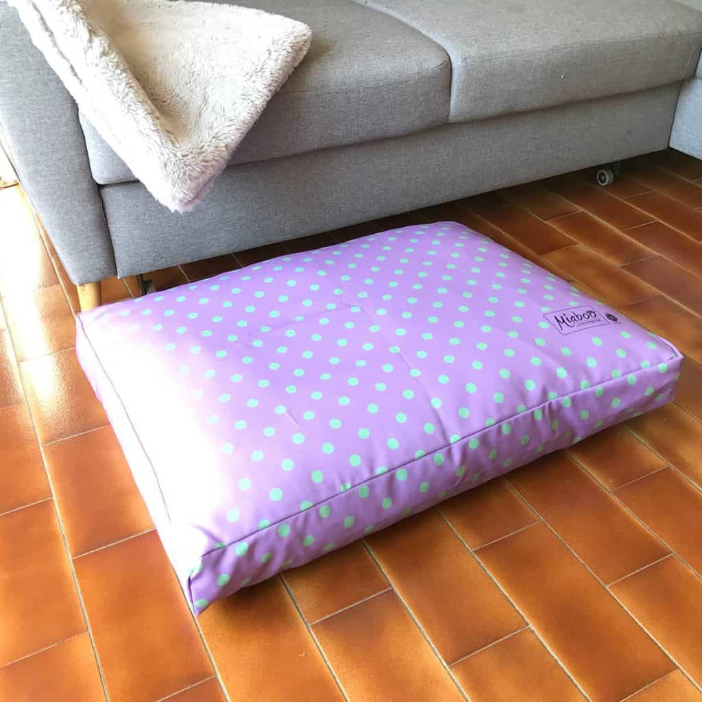Lilac and mint spotty dog cushion bed