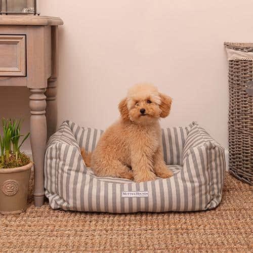 Grey flint stripe cotton bolster dog bed