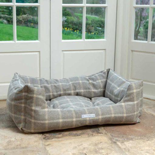 Grey Tweed Boxy Dog Bed