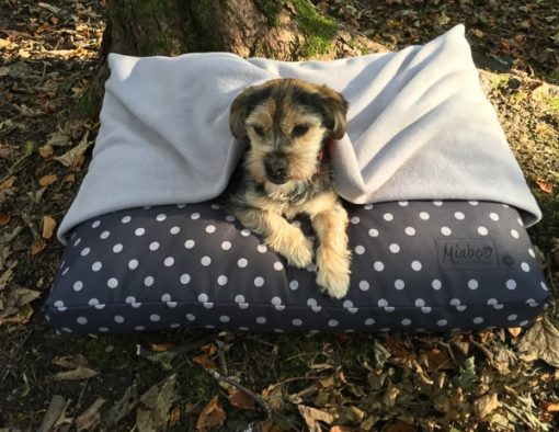 Grey spot deep-filled dog cushion burrow bed
