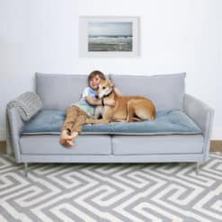 Airforce blue velvet sofa topper