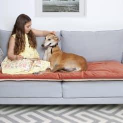 Tea Rose Orange velvet luxury sofa topper
