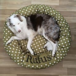 Sage green spotty donut dog bed