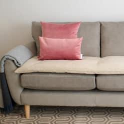 Ecru Cream velvet luxury sofa topper