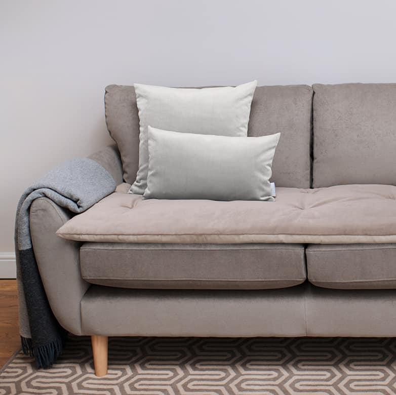 Dove grey velvet scatter cushions